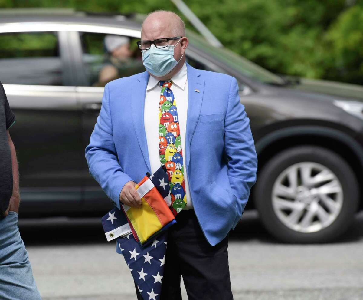 Milton Town Supervisor Benny Zlotnick, whose father died on Christmas Eve, asks that everyone socially distance and wear a mask. Zlotnick  was photographed here before an event at a memorial park on Tuesday, June 9, 2020, in Milton, N.Y.   (Paul Buckowski/Times Union)