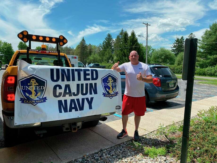United Cajun Navy Commander Brian Antisdel takes a break from helping with flood relief efforts in Midland and Gladwin Counties. He has been with UCN since Hurricane Katrina and a commander for nearly two years. He is a Dowagiac, Michigan native. (Photo provided/United Cajun Army)