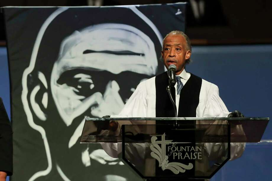 The Rev. Al Sharpton speaks during the funeral for George Floyd on Tuesday, June 9, 2020, at The Fountain of Praise church in Houston. Floyd died after being restrained by Minneapolis Police officers on May 25. Photo: Godofredo A. Vásquez, Houston Chronicle / Copyright 2020 Godofredo A. Vásquez/HOUSTON CHRONICLE. All rights reserved.