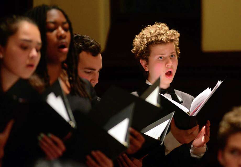 The Chamber Singers of the Fairfield County Children's Choir performs during the Town of Fairfield's 34th Annual Holocaust Commemoration held at First Church Congregational in Fairfield, April 26, 2017. Photo: Christian Abraham / Hearst Connecticut Media / Connecticut Post