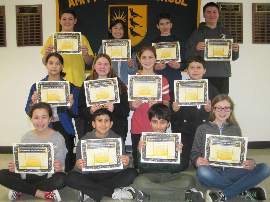 "Amity Middle School in Bethany has a ""Character of the Quarter"" awards program. Each marking period students are recognized for one of four traits: Accountability, Motivation, Independence, and Trustworthiness. Students from each team are selected to receive this honor. The character trait for the 2nd quarter was ""Motivated."" The students who received this award for the 2nd quarter are: Michael Crisci, Alice Xu, Jaden Rossi, Samuel Monk, Anabel Raffin, Maya Dias, Megan Stack, Joaquin Arias, Sophie Noujaim, Ty Tafuto, Dariush Raissi and Madeline Nixon. Photo: Contributed Photo"