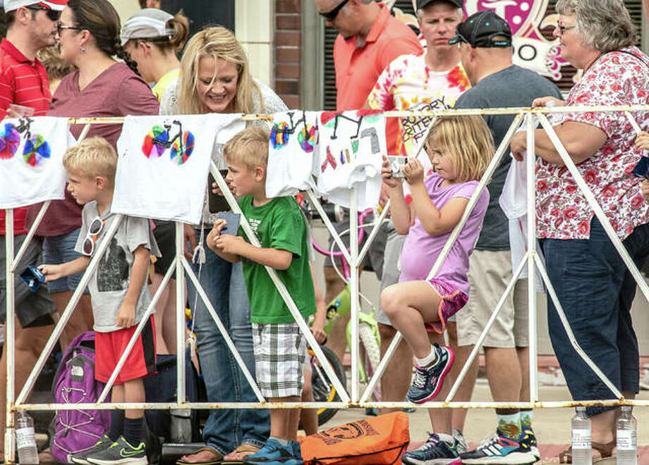 Onlookers enjoy cyclists compete on Main Street during the Rotary Criterium Festival in downtown Edwardsville in 2019. Photo: Intelligencer File Photo