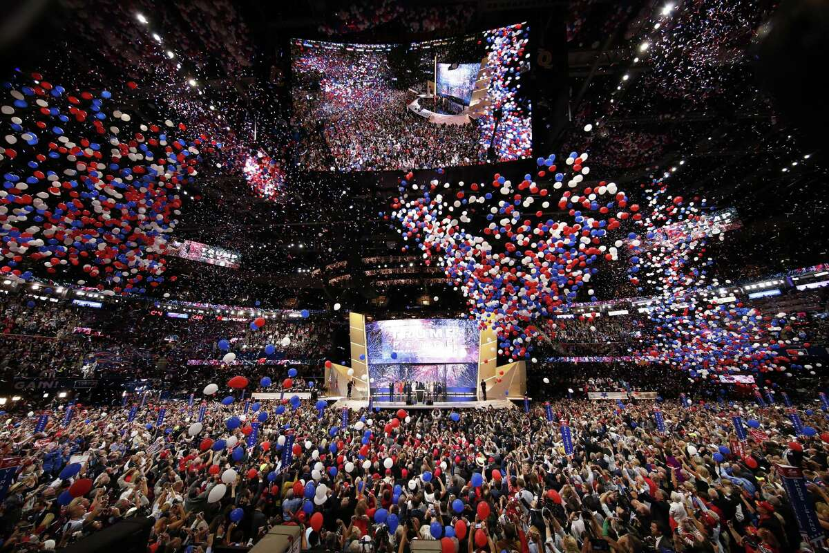 FILE - The Republican National Convention in Cleveland, Ohio, July 21, 2016. After a public feud with Democratic officials in North Carolina, a state he won four years ago, President Donald Trump and the Republican National Committee are moving to largely shift convention proceedings out of Charlotte, including the president?•s acceptance speech on the final night. (Doug Mills/The New York Times)