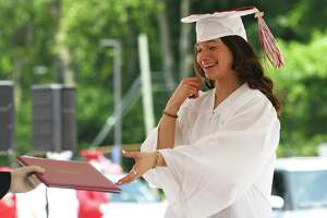 The Class of 2020 drive-thru commencement at Greenwich High School in Greenwich, Conn. Tuesday, June 9, 2020.
