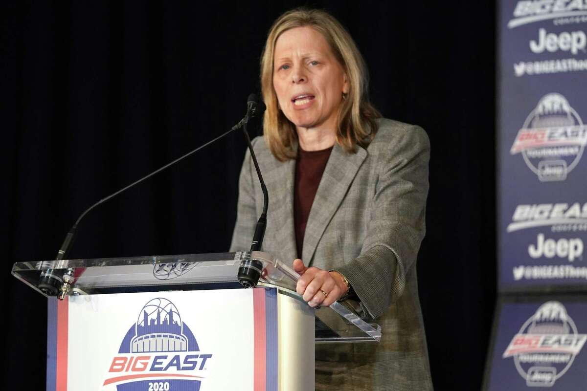 Commissioner Val Ackerman of the Big East Conference addresses the media during the Big East Basketball Tournament awards presentations at Madison Square Garden on March 11 in New York.