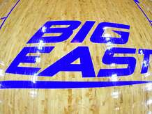 NEWARK, NJ - FEBRUARY 01: The Big East logo on the floor before a college basketball game between the Xavier Musketeers and the Seton Hall Pirates at the Prudential Center on February 1, 2020 in Newark, New Jersey. (Photo by Mitchell Layton/Getty Images)