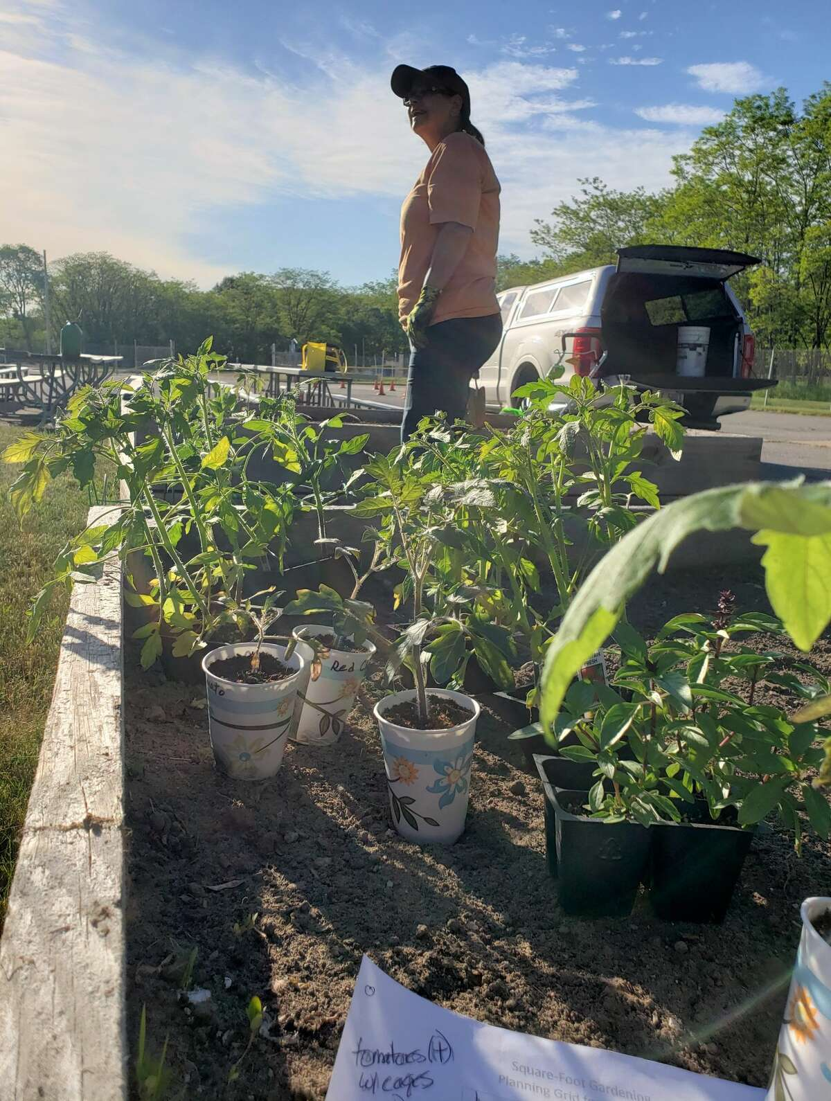 Volunteers could be seen tilling, weeding, planning and planting in the raised garden beds at the Armory Youth Project early Tuesday morning before the temperatures reached the 80s on First Street. The Armory Youth Project is working on a gardening-for-pantries project alongside Spirit of the Woods Garden Club and the Manistee County Community Foundation.
