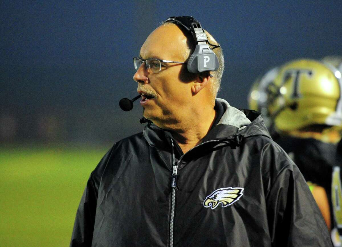 Trumbull Head Coach: Marce Petroccio during football action against Westhill in Trumbull, Conn., on Friday Nov.2, 2018.