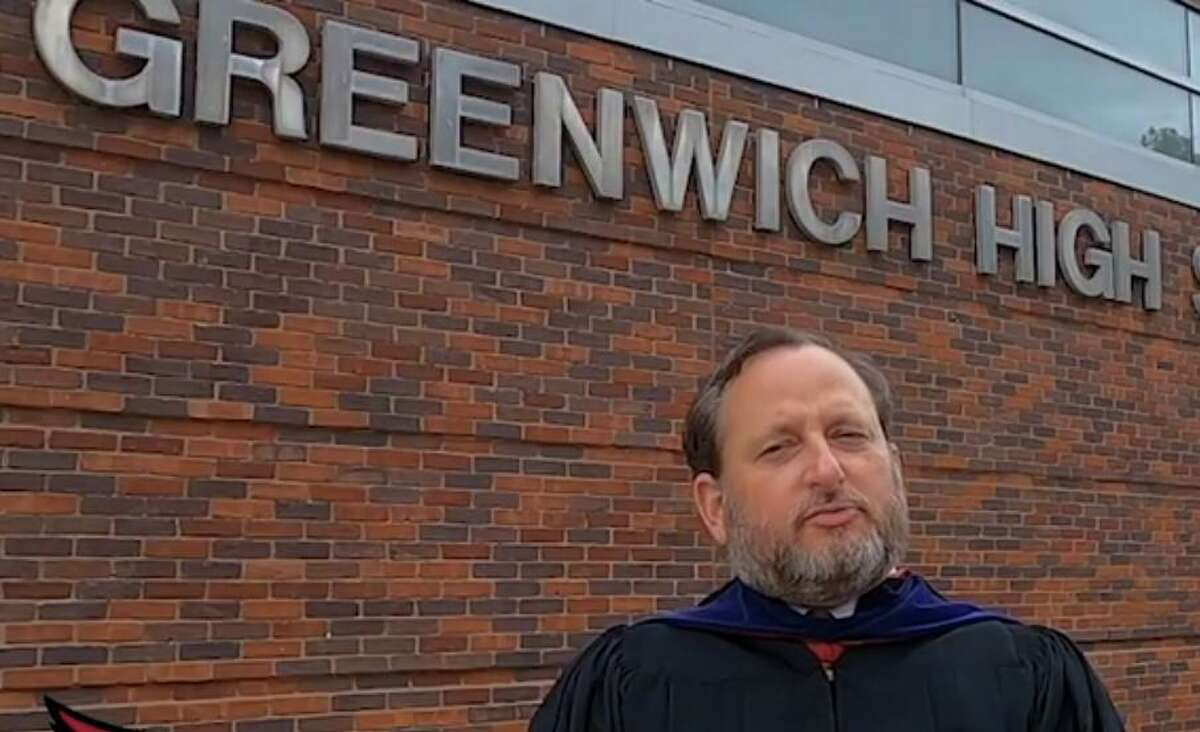 Board of Education Chair Peter Bernstein speaks during the online video broadcast of the Greenwich High School Class of 2020 Commencement Ceremony.