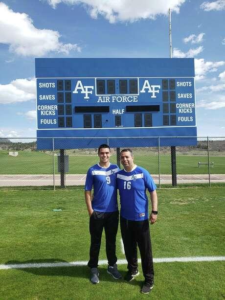 Jackson Macias poses with his father Gabe Macias at the Air Force Academy in Colorado Springs, Colorado. Photo: Courtesy