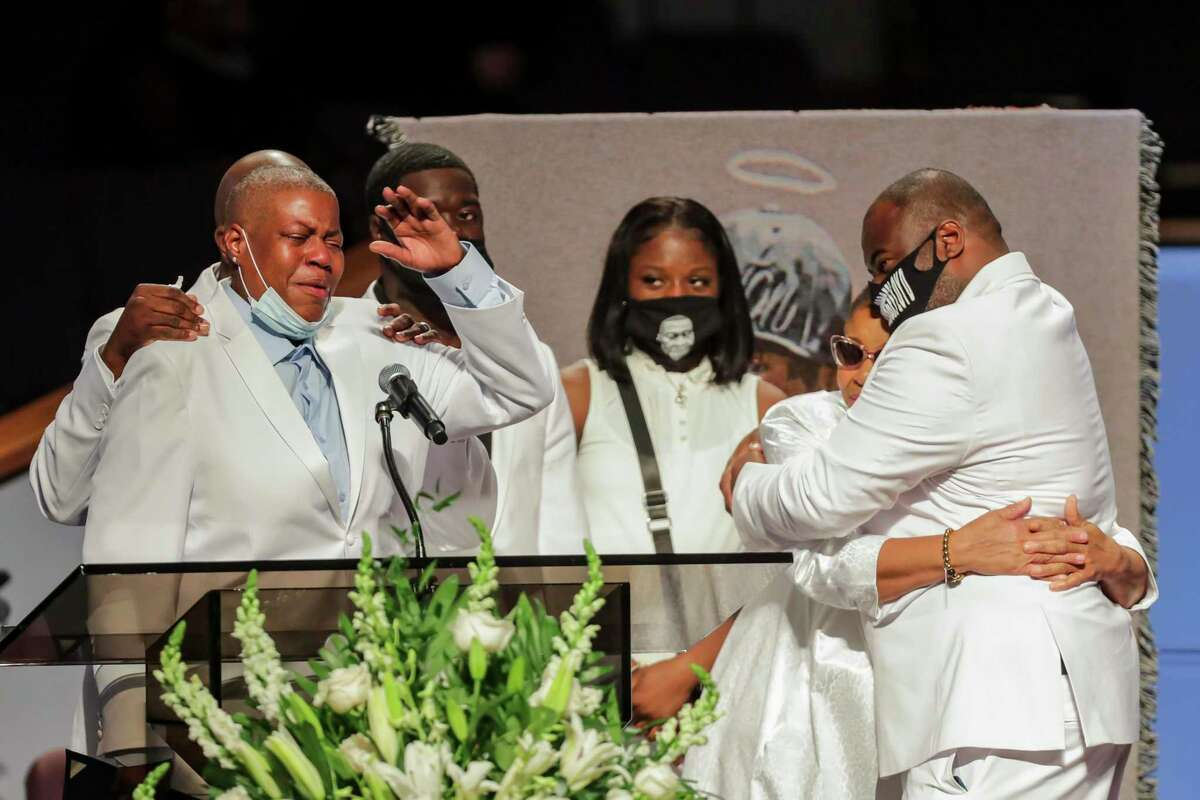 LaTonya Floyd speaks during the funeral for her brother, George Floyd, on Tuesday, June 9, 2020, at The Fountain of Praise church in Houston. Floyd died after being restrained by Minneapolis Police officers on May 25.