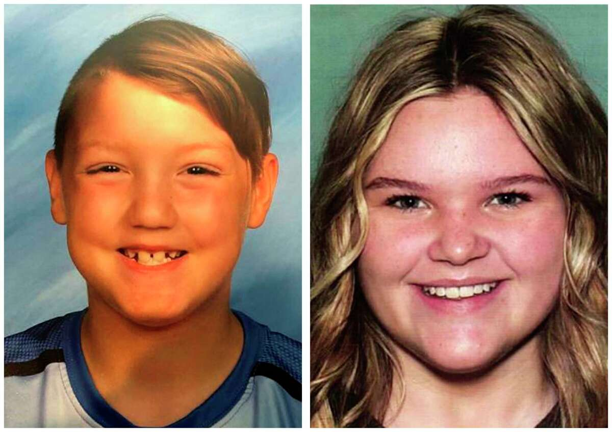 FILE - This combination of undated file photos released by the National Center for Missing & Exploited Children show missing children Joshua Vallow, left, and Tylee Ryan. Investigators returned Tuesday, June 9, 2020 to search the Idaho home of a man with ties to the mysterious disappearance of the two children who haven't been seen since last year. It's the second search of Chad Daybell's home in a case that has vexed investigators for months and attracted worldwide attention. Seven-year-old Joshua