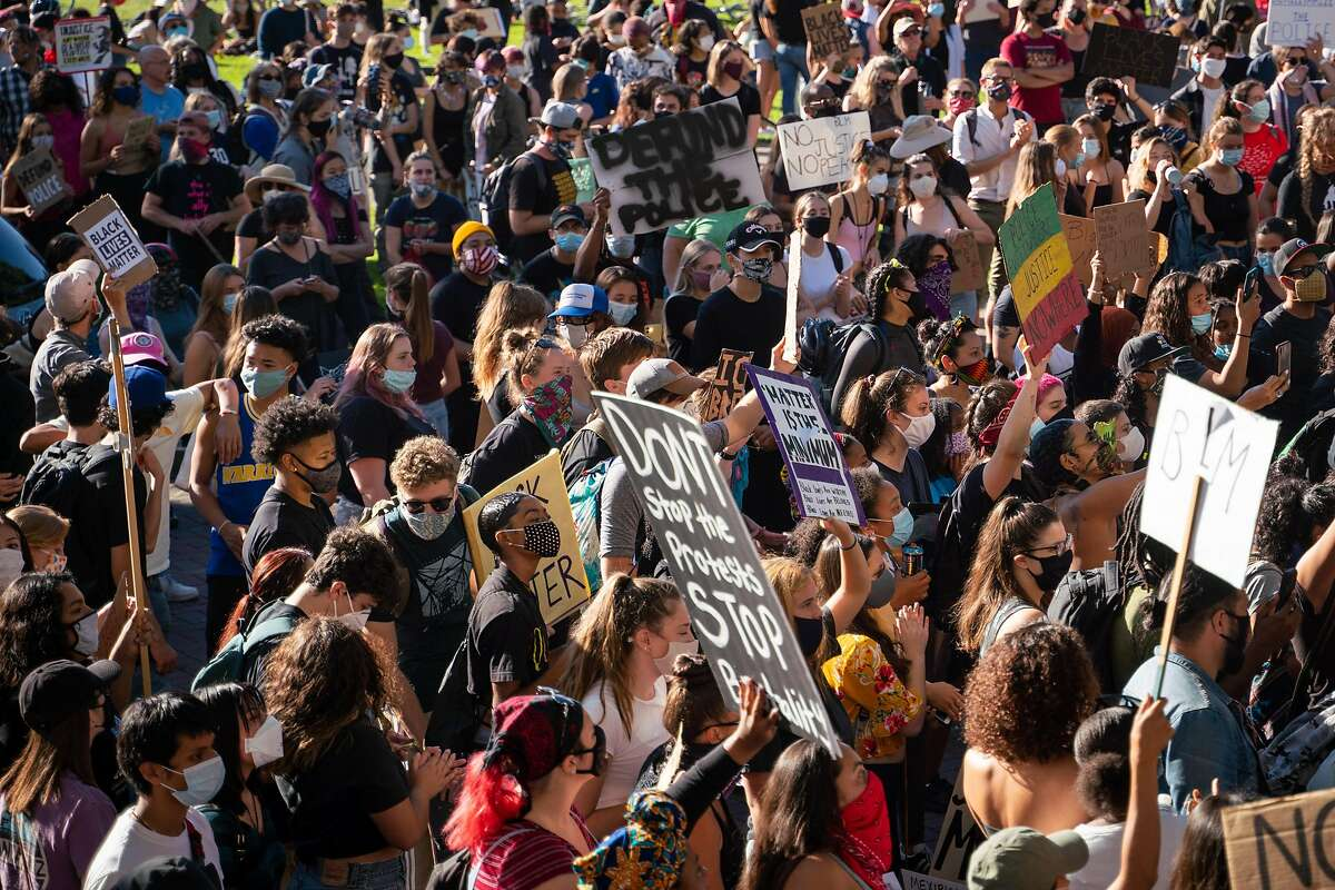 Hundreds of people attend the Stand with Black Youth student led protest in Berkeley, Calif. on Tuesday, June 9, 2020.