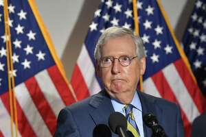 Senate Minority Leader Mitch McConnell R-KY speaks to the media after a Republican policy luncheon at the US Capitol in Washington, DC on June 9, 2020. (Photo by MANDEL NGAN / AFP) (Photo by MANDEL NGAN/AFP via Getty Images)