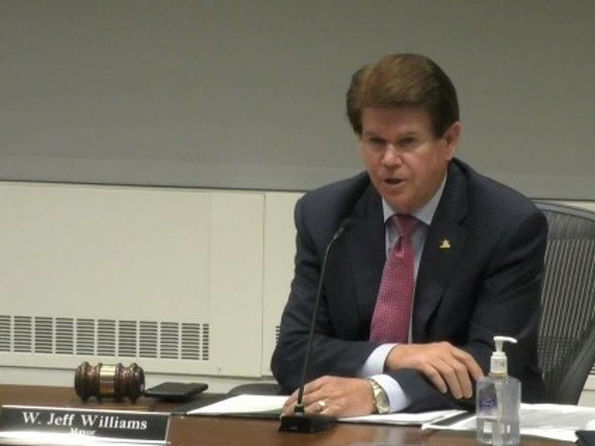 Arlington Mayor Jeff Williams is the first signature on the letter to Congress asking for additional relief. In this photo, William speaks during a meeting that came days after Arlington City Council voted 6-3 against issuing a permit that would have allowed French oil major Total to drill three new natural gas wells hundreds of feet away from a day care in a predominantly Latino and African-American neighborhood.