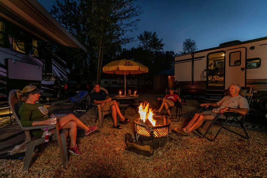 Travelers relax at KOA Journey campground in Granite City. Photo: For The Telegraph