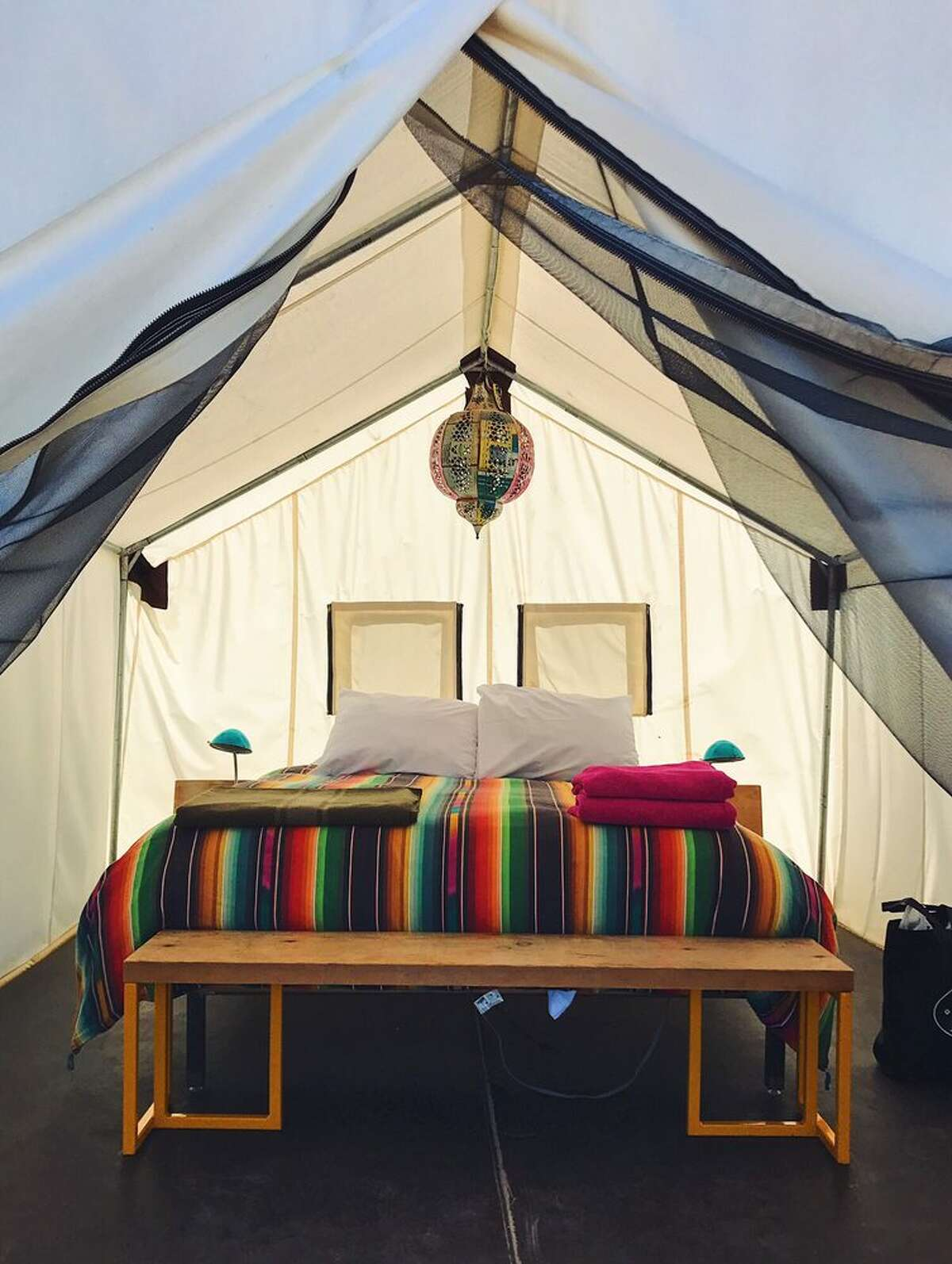 El Cosmico802 S Highland Ave Marfa, TX 79843(432) 729-1950 Not your run of the mill hotel accomodations but full of bohemian inspired charm offering great stargazing opportunities. Sleeping options include staysin a teepee, tent, vintage travel trailer or yurt. Photo: Yelp/Courtney B.