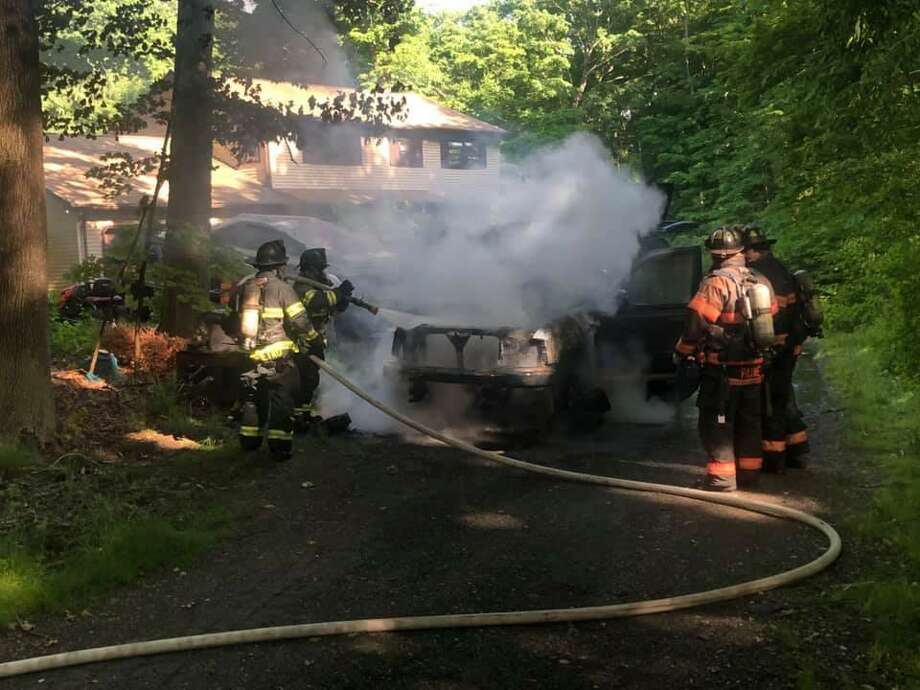 Danbury firefighters responded to 7 Cedar Crest Drive for the reported vehicle fire in close proximity to a house on Tuesday afternoon on June 9, 2020. There was no damage to the house. Photo: Danbury Fire Department Photo