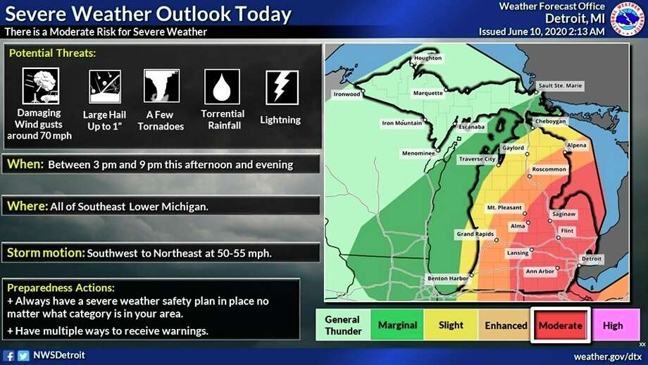 Midland County could be in the path of storms Wednesday, primarily from 3 to 9 p.m. (National Weather Service)