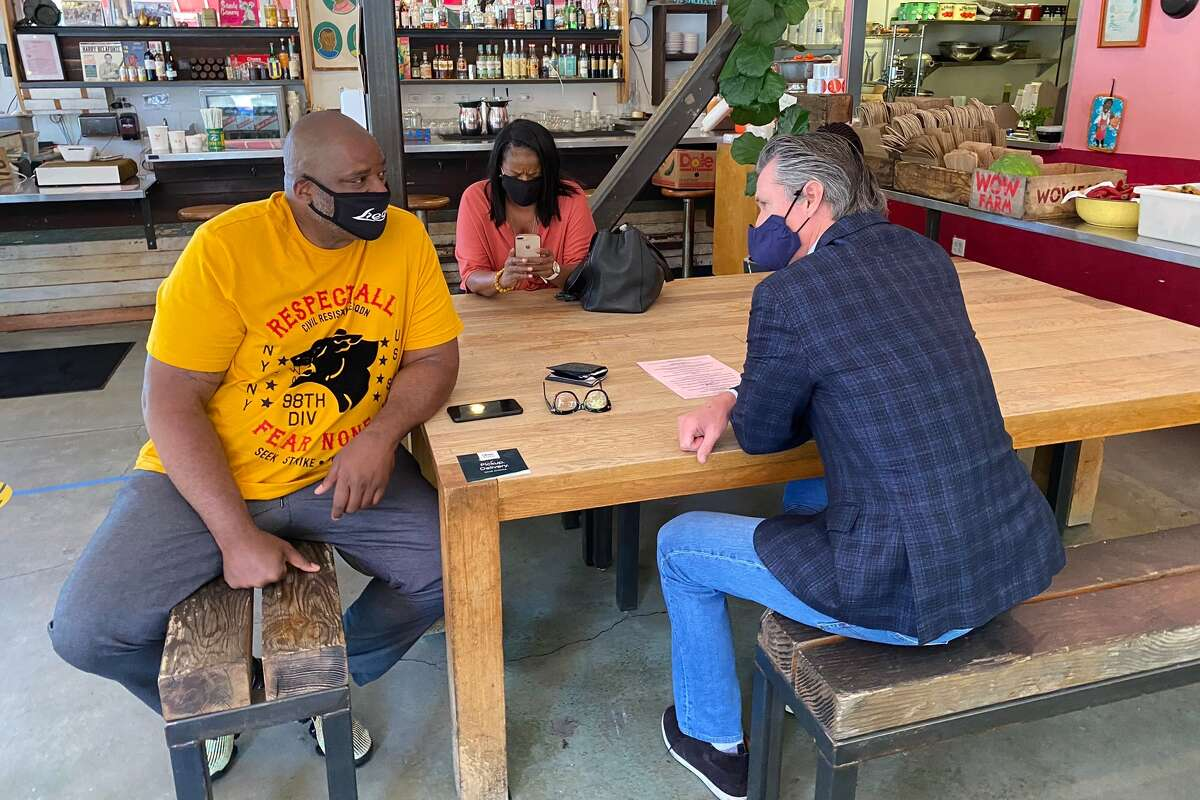 California Gov. Gavin Newsom met with community leaders and black business owners in Oakland Tuesday to talk about racism.