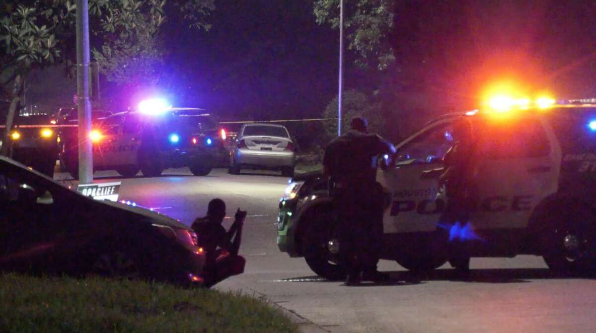 Houston police investigate a shooting in the 2700 block of Oakcliff on Wednesday, June 10, 2020.