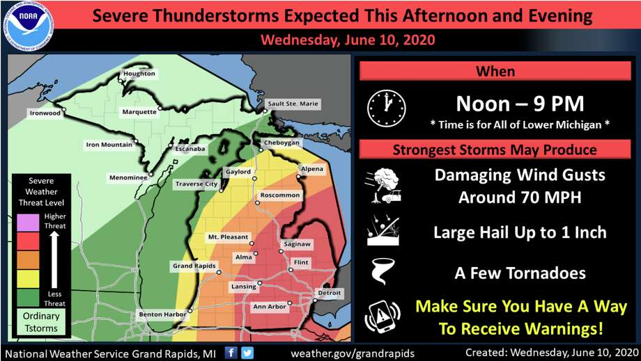 Severe thunderstorms are expected this afternoon and evening, with the main threats expected to be damaging wind gusts to 70 miles per hour. Large hail up to one inch will also be possible along with a few tornadoes. Photo: Photo Courtesy Of National Weather Service