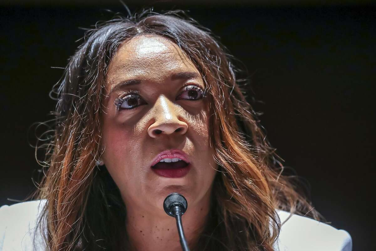 Angela Underwood Jacobs, a Lancaster, Calif., city council member, gives an opening statement during a House Judiciary Committee hearing on proposed changes to police practices and accountability on Capitol Hill, Wednesday, June 10, 2020, in Washington. (Michael Reynolds/Pool via AP)