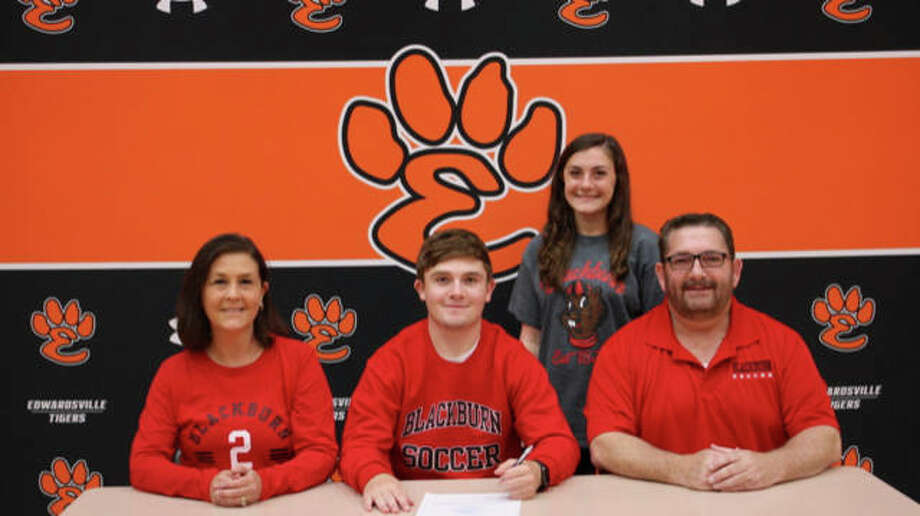 Edwardsville graduate Shane Greathouse, seated center, will play soccer at Blackburn College. He is joined in the picture by his family.