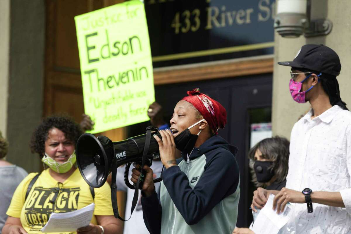 Tasheca Medina of Troy speaks at a press conference held by Justice for Dahmeek outside Troy City Hall on Wednesday, June 10, 2020, in Troy, N.Y. (Paul Buckowski/Times Union)