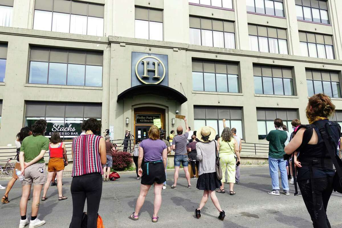 People gather outside Troy City Hall to hold a Justice for Dahmeek press conference on Wednesday, June 10, 2020, in Troy, N.Y. (Paul Buckowski/Times Union)