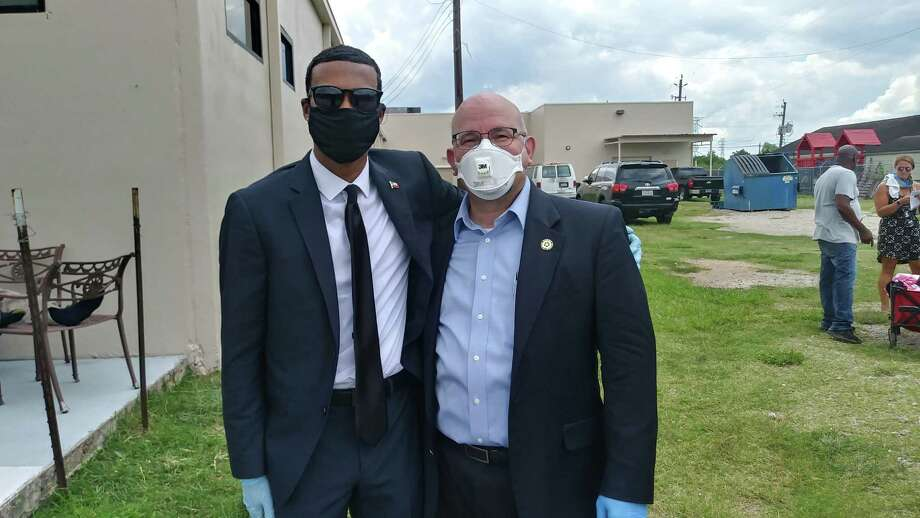 Rep. Jon Rosenthal and Ryan C. Irving both attended the memorial for George Floyd, who's death by police brutality made waves across the nation, on June 8, 2020. Photo: Chevall Pryce