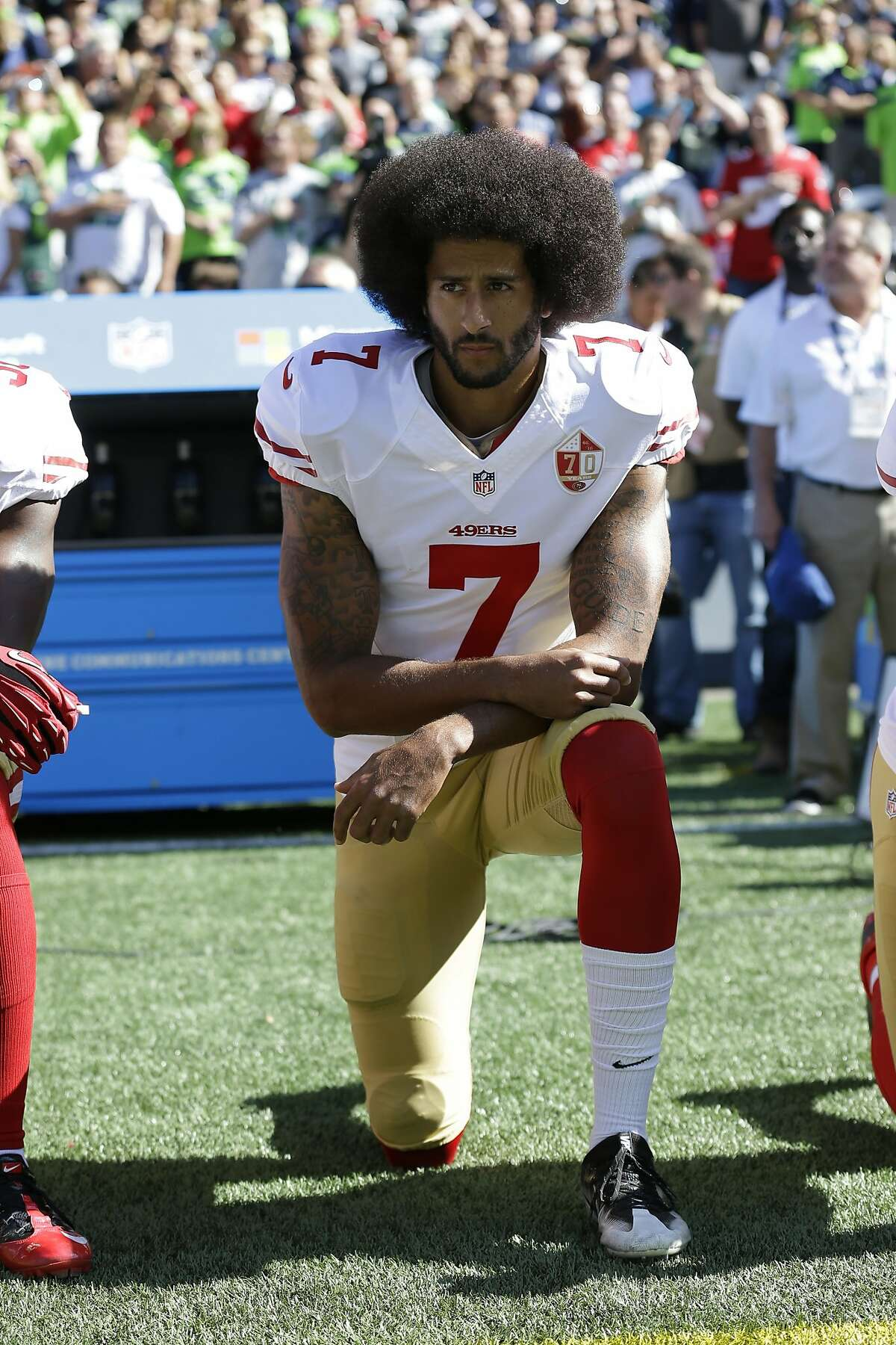 Was Kaepernick against the anthem? In recent times San Francisco 49ers' Colin Kaepernick sparked new debate about the country's anthem when he began kneeling during the national anthem before NFL games. His peaceful demonstrations of kneeling during the national anthem were misconstrued by many as being un-American, as representing protests against the flag and