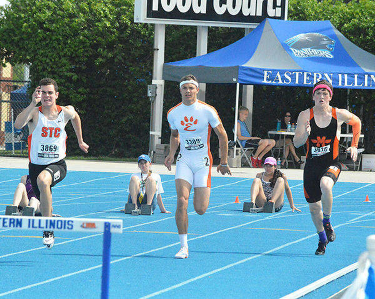 Edwardsville senior Isaiah Michl starts the 300-meter intermediate hurdle final at the 2015 Class 3A state meet in Charleston. Michl ran a 38.00 and finished third in the race.