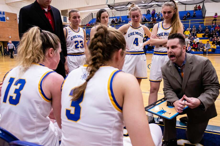 Midland High coach Jaden Clobes draws up a play during a Dec. 13, 2019 game against Bay City Western. Photo: Daily News File Photo
