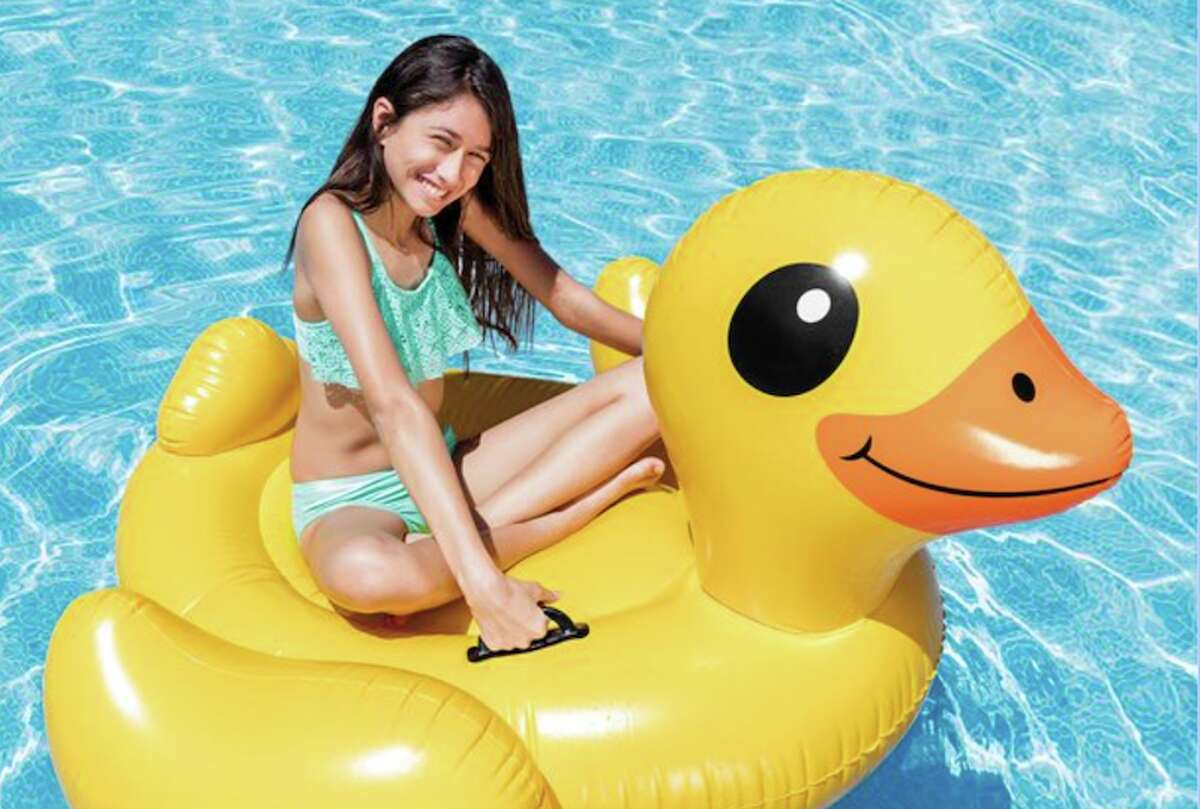 Intex Inflatable Yellow Duck Ride-On Pool Float Price: $12.64 This is a list of cool pool floats, and as far as anything goes on this list, a giant duck makes the most sense. Ducks love water. You love ducks. Why wouldn't you want a duck float big enough for you to ride around on in your pool?