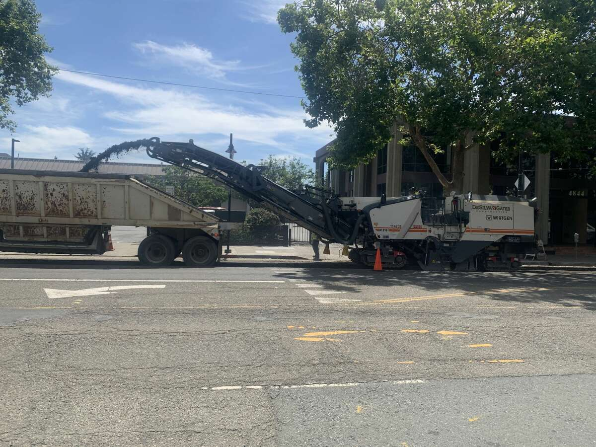Repaving Telegraph Avenue between 37th and 52nd streets in Oakland on June 10, 2020.