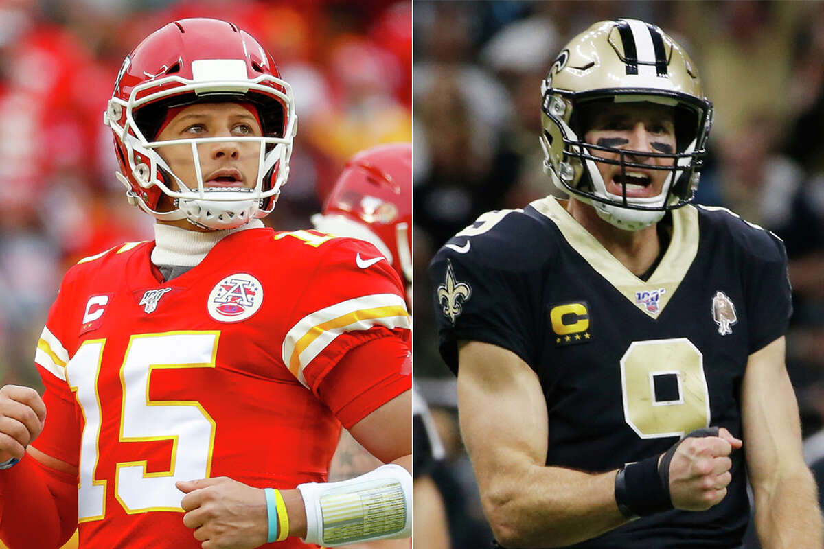 Patrick Mahomes (left) and Drew Brees are two of the many Texas-born stars who've graced the NFL through the years.