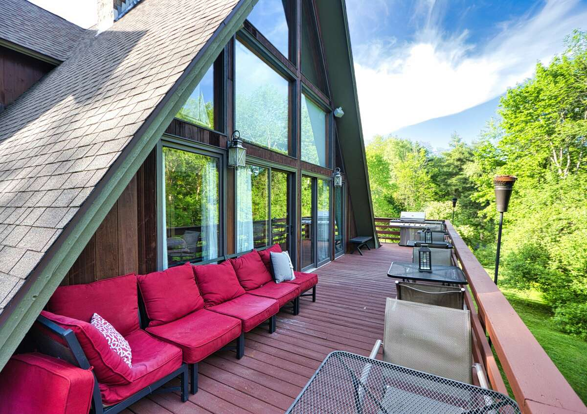 An A-frame in Saratoga with a chic interior. Contact listing agent Meghan O'Connor of Keller Williams Capital District at  315-378-7710. Listing here