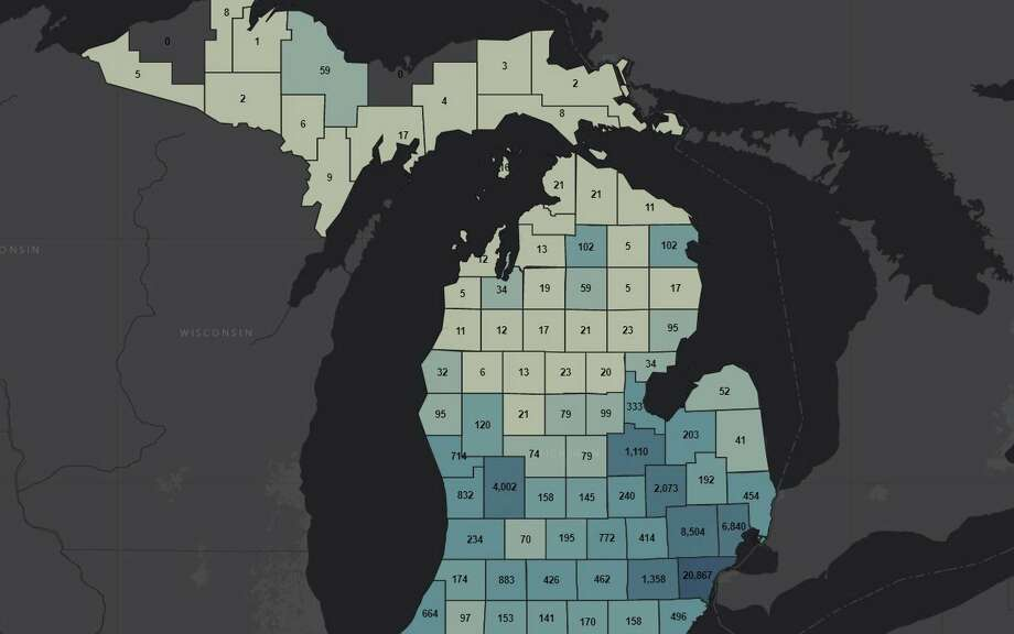This screenshot from Wednesday afternoon from the Michigan State Police COVID-19 Summary dashboard online shows the number of confirmed coronavirus cases in each county. (MSP COVID-19 dashboard screenshot)