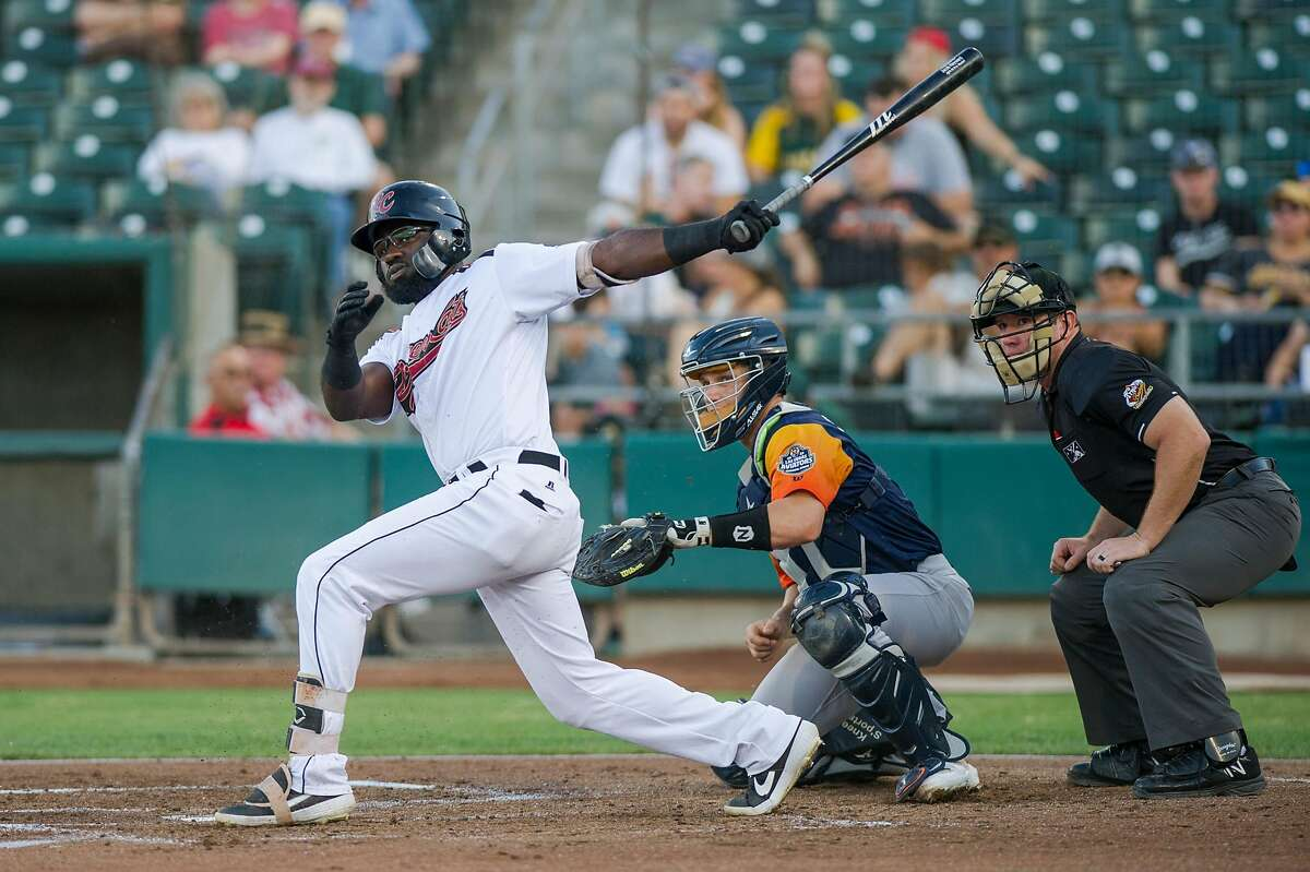 Sacramento River Cats outfielder Jacob Heyward hits the ball during the first Pacific Coast League championship series game against the Las Vegas Aviators at Raley Field in Sacramento, Calif. on Wednesday, Sept. 4, 2019.