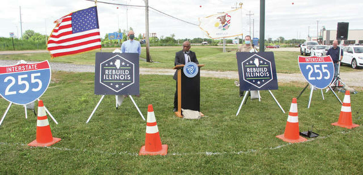 Acting Illinois Department of Transportation Secretary Omer Osman talks during a press conference Wednesday in Sauget regarding work on the Interstate 255 rehabilitation project. On Saturday work on the northern portion of the project will be completed and will shift to the southern portion.