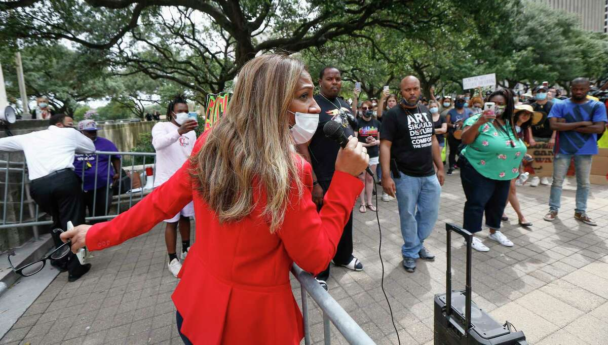 Council Member at Large 4 Dr. Letitia Plummer addresses a rally after the City Council voted against amendments to eliminate police misconduct to the city budget Wednesday, June 10, 2020, in Houston.