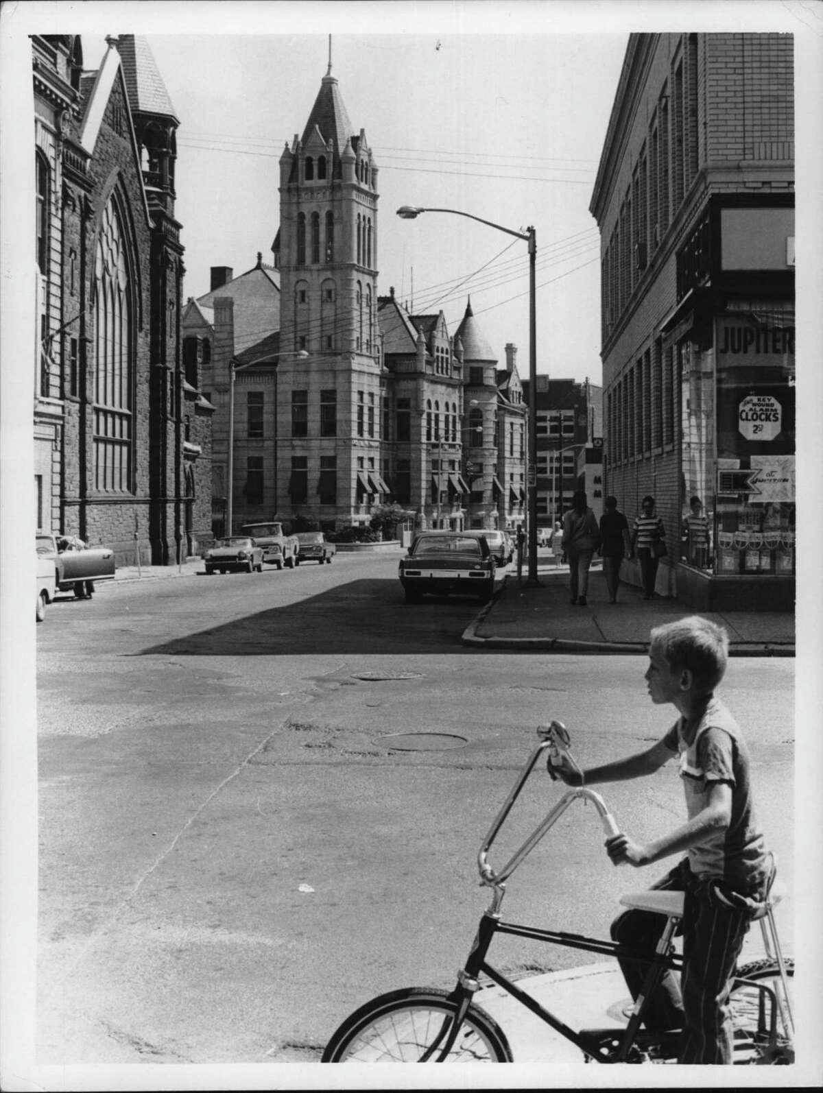 View of Ontario Street and City Hall in Cohoes, New York. May 1972 (Bud Hewig/Times Union Archive)