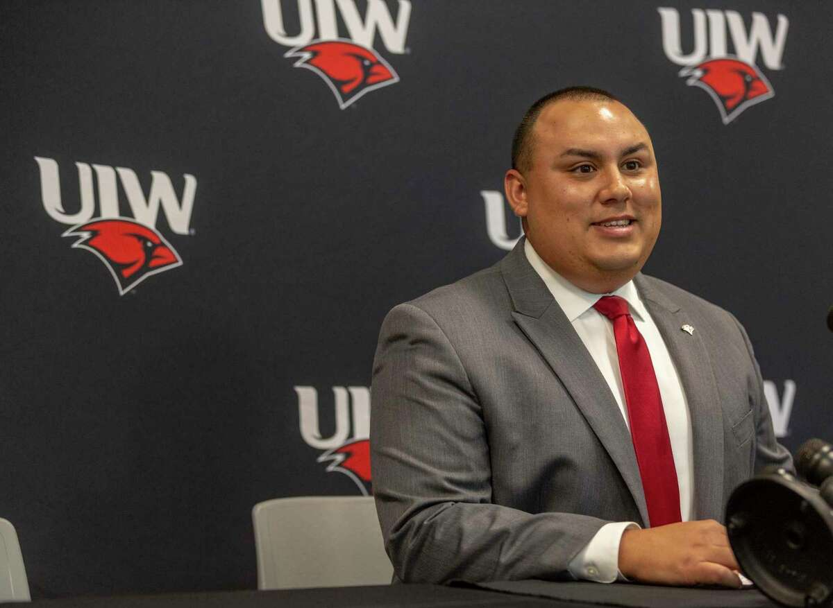 University of the Incarnate Word interim Athletic Director Richard Duran speaks during the school's football media day two days after the university announced former athletic director Brian Wickstrom's immediate departure. The university has not said why Wickstrom left.