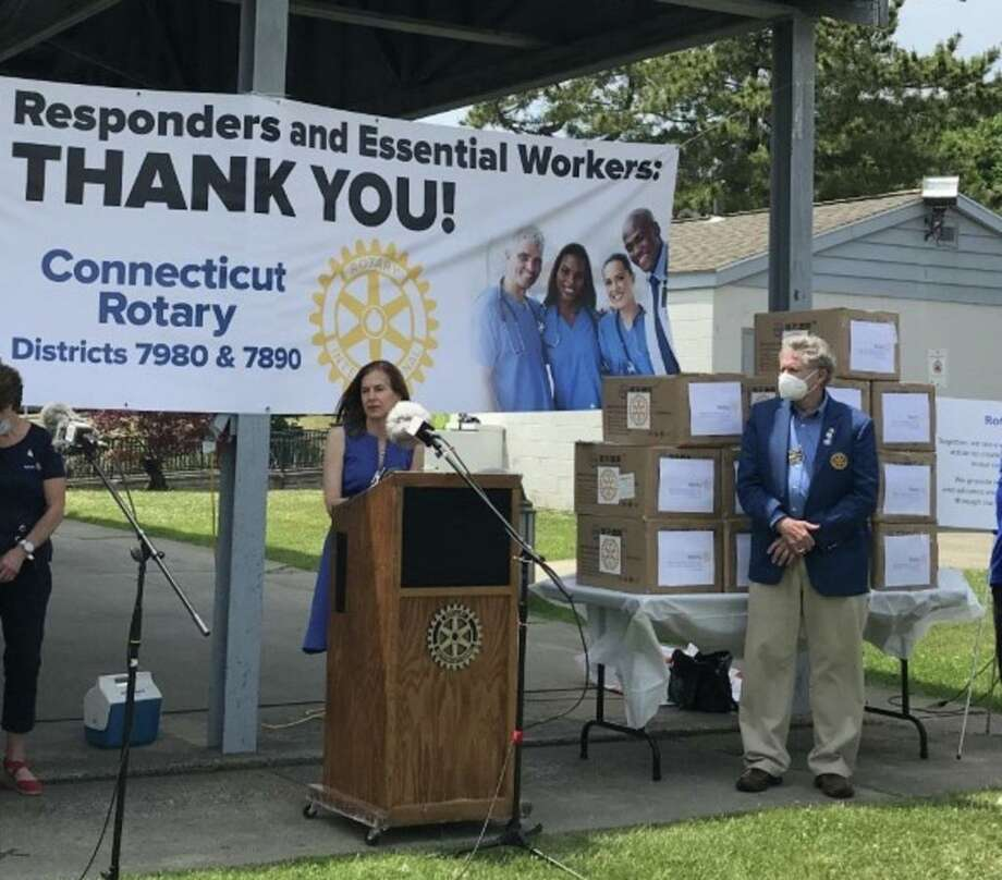 Lt. Gov. Susan Bysiewicz and Trish Pearson from Orange Rotary talk about CT Rotary's involvement in helping out during the COVID-19 pandemic. Photo: Bill Bloxsom / Hearst Connecticut Media / New Haven Register