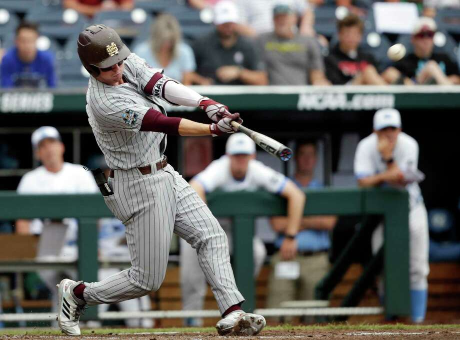 Mississippi State designated hitter Jordan Westburg of New Braunfels hits a grand slam against North Carolina in the second inning of an NCAA College World Series baseball game in Omaha, Neb. The Baltimore Orioles selected Westburg in the draft. Photo: Nati Harnik /Associated Press / Copyright 2018 The Associated Press. All rights reserved.