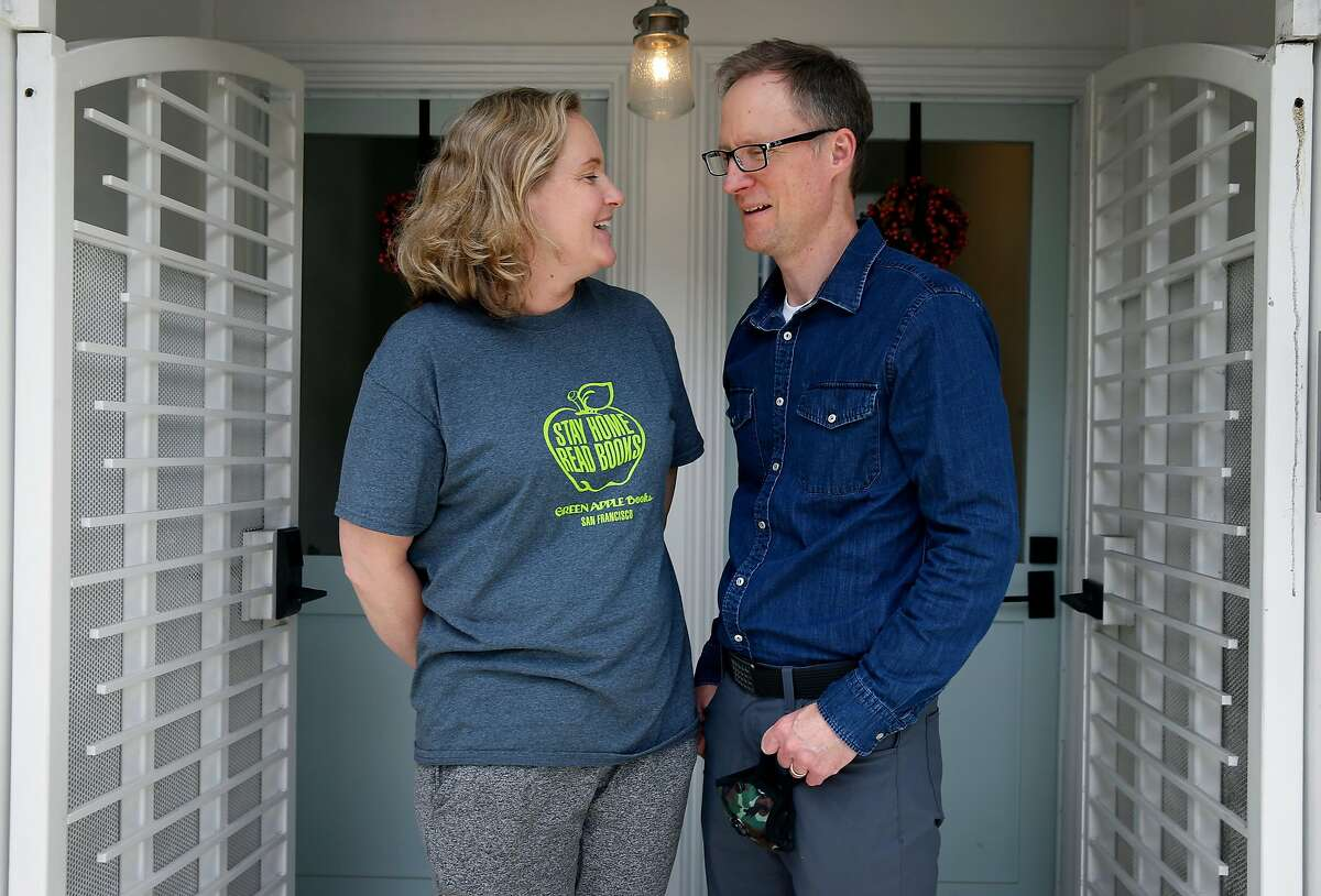 Nettie Atkisson and her husband Curtis are seen outside their duplex on California Street in San Francisco, Calif. on Wednesday, June 10, 2020. The Atkissons rent the other unit to a tenant.
