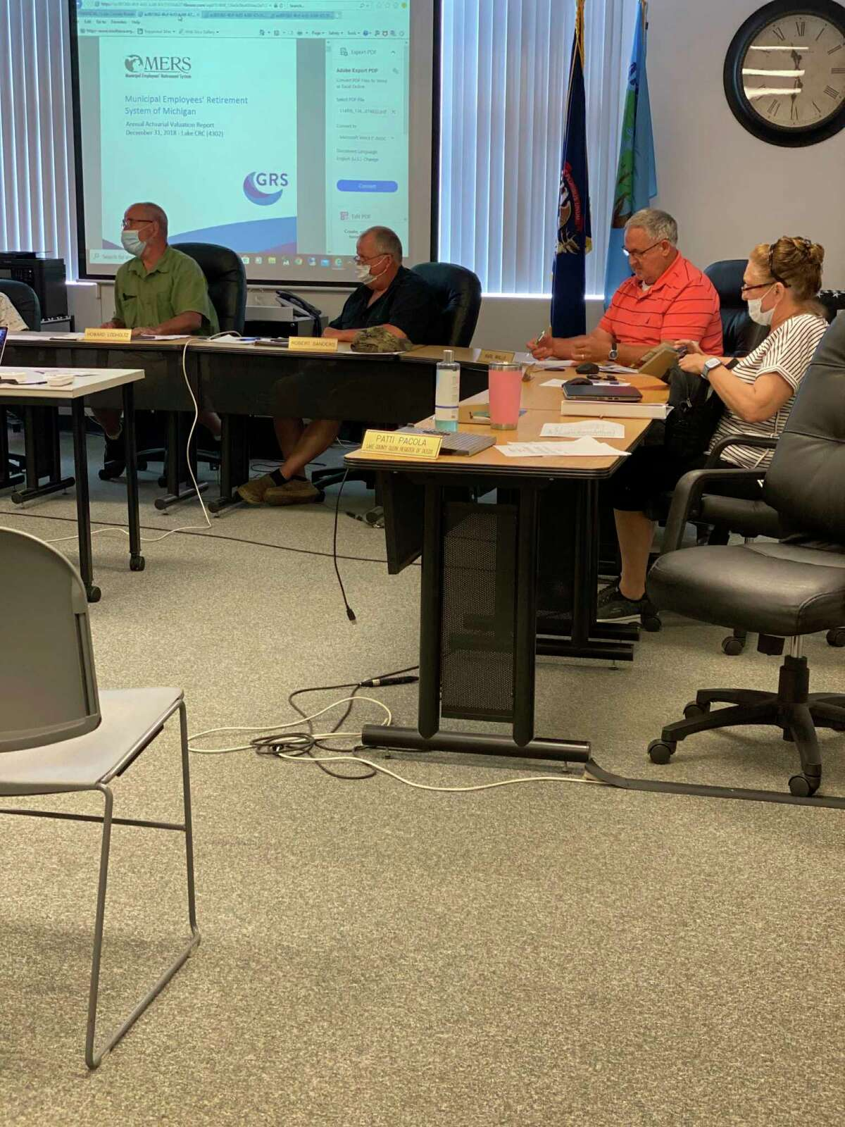 The Lake County Board of Commissioners met in person for the first time since mid-March, at its meeting June 10. According to executive orders from Gov. Gretchen Whitmer, social distancing and face coverings are still required in public areas. (Submitted photo)