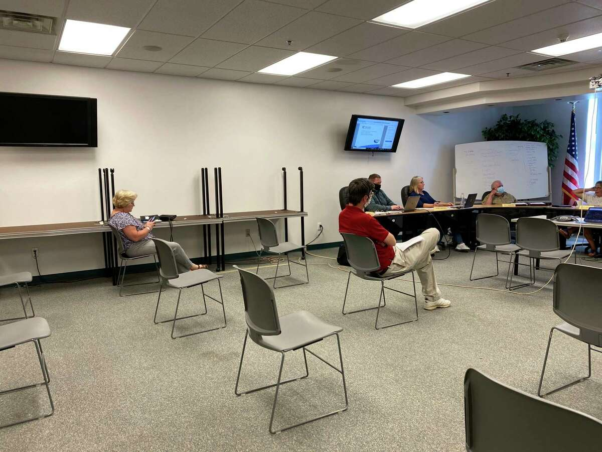 Social distancing and face covering requirements were adhered to at the Lake County Board of Commissioners meeting on June 10. It was the first in-person meeting of the BOC since the beginning of the coronavirus pandemic shutdown in mid-March. (Submitted photo)