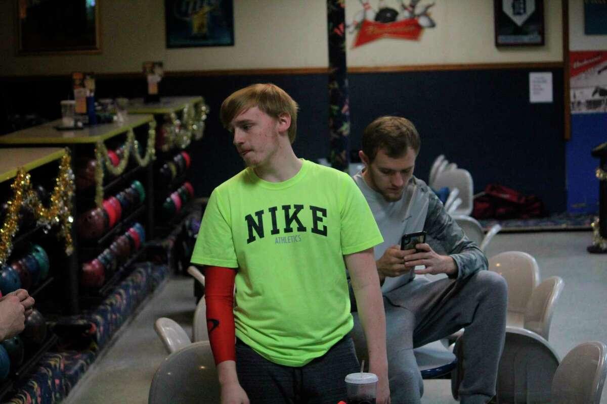 Baldwin bowler Jesse Pancio (left) works on his game last season at the Baldwin bowling center. (Star photo/John Raffel)